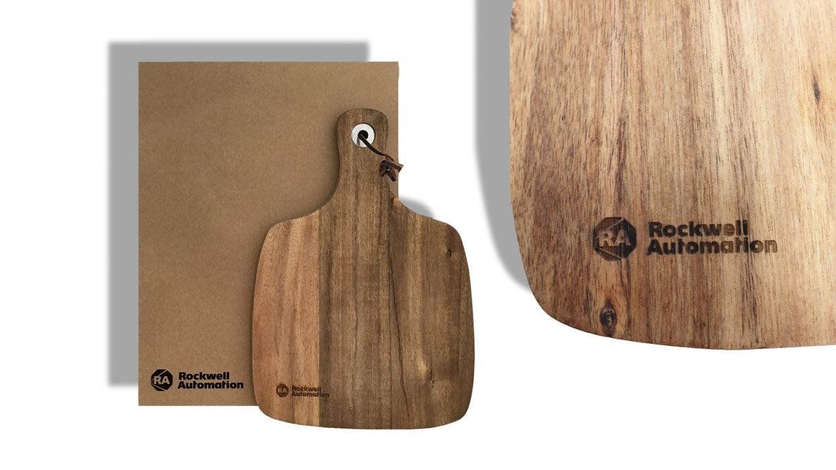 Rockwell Automation engraved cheeseboard with printed box.